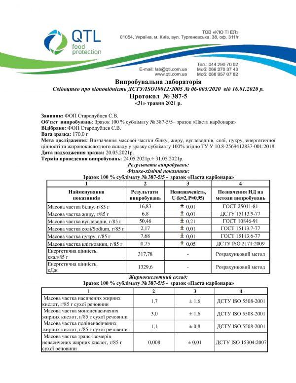 Зразок 100 % сублімату № 387-5/5– зразок «Паста карбонара»